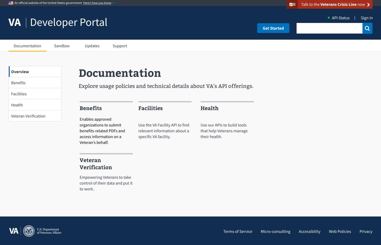 Screenshot for homepage for developer.va.gov