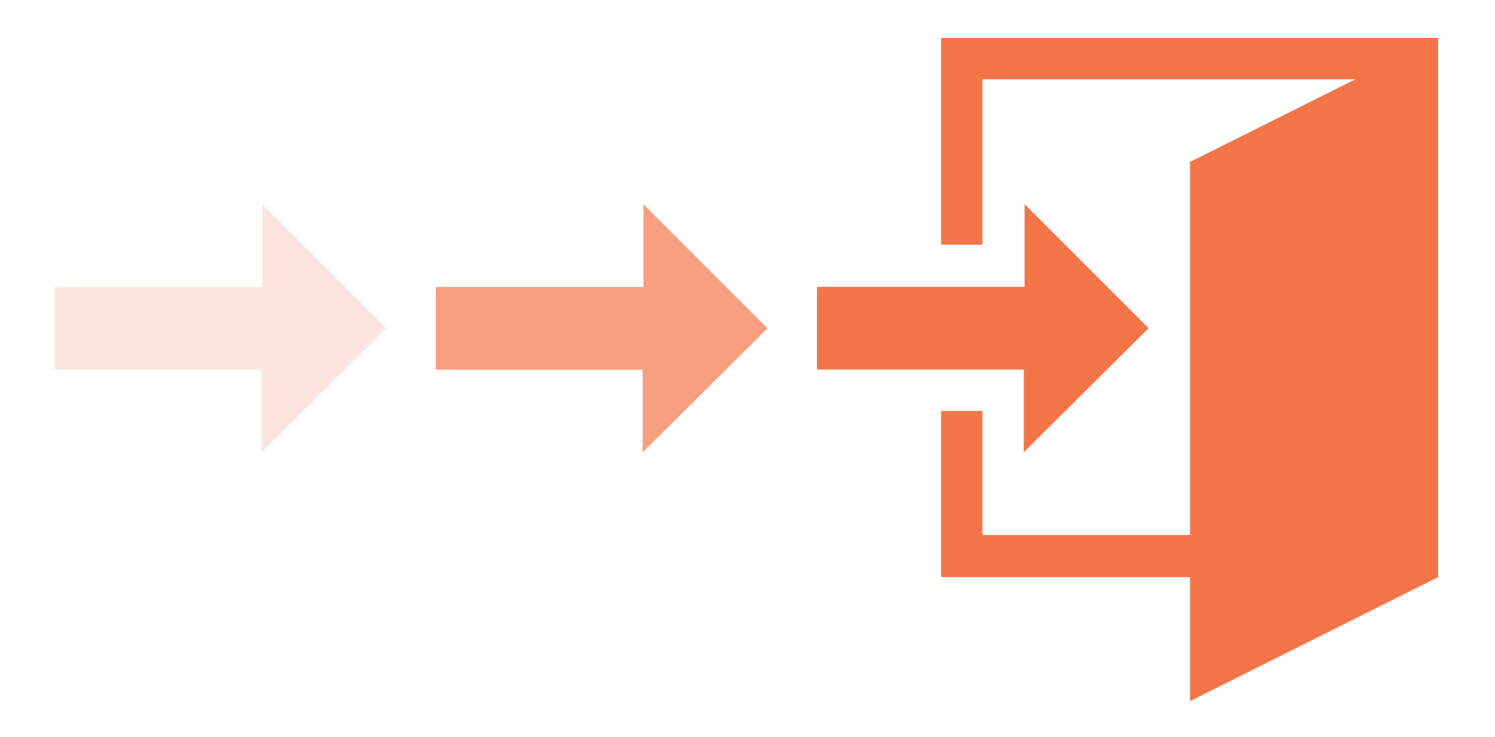 Image of arrows pointing towards an open door, to denote an exit