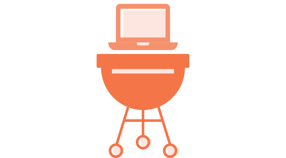 Image of a computer cooking on a charcoal grill, a fun reference to combining camping and computers