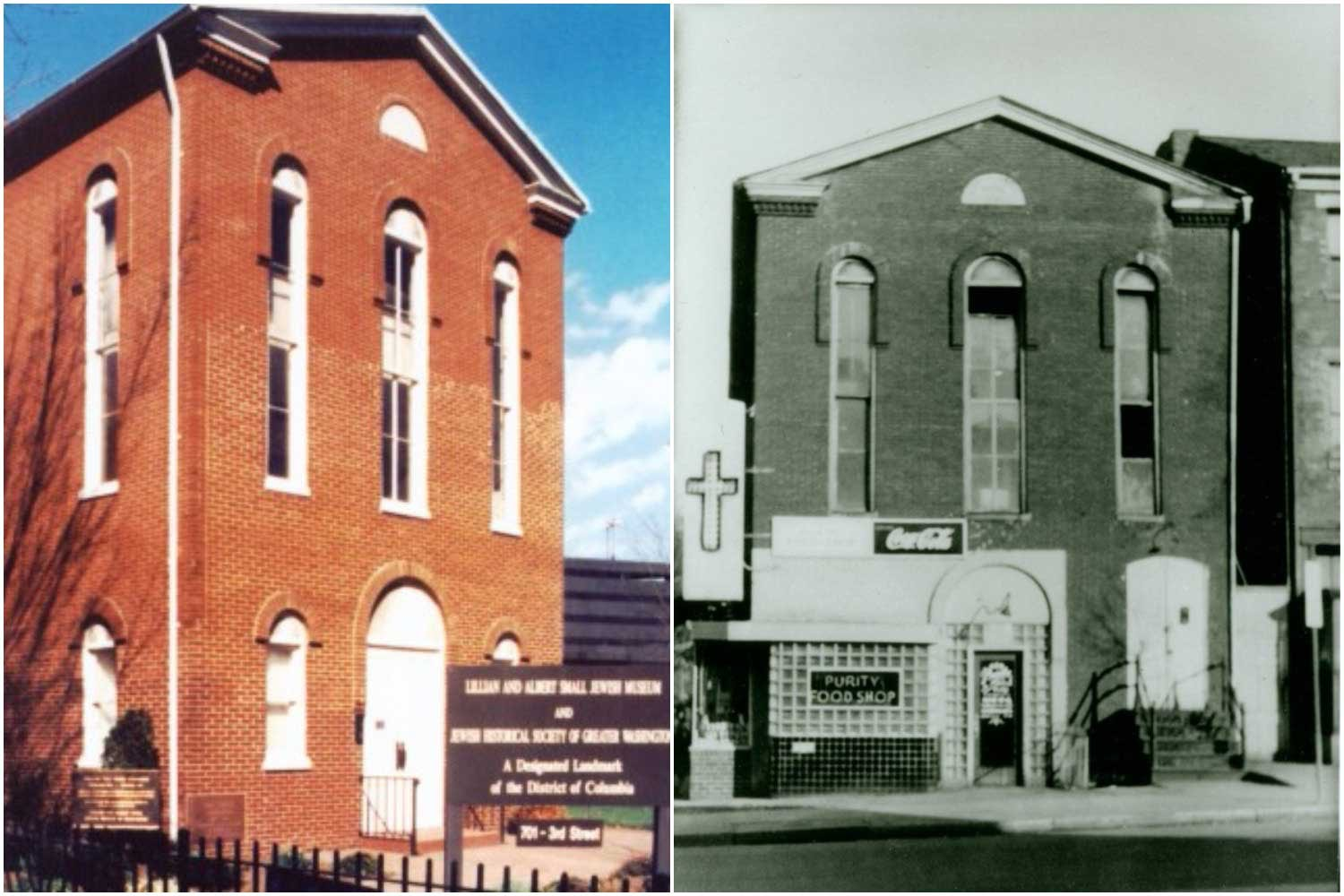 This red brick building began life in 1876 as a synagogue, and would later become three different churches. On the left is a color image of the synagogue, on the right is a black and white image of the same building with a neon cross on the side.