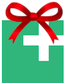 Ad Hoc logo with a gift bow on top