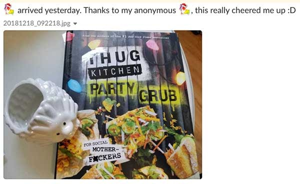 Arrived yesterday. Thanks to my anonymous corgi-santa, this really cheered me up. Smiley face. Gift of party grub.