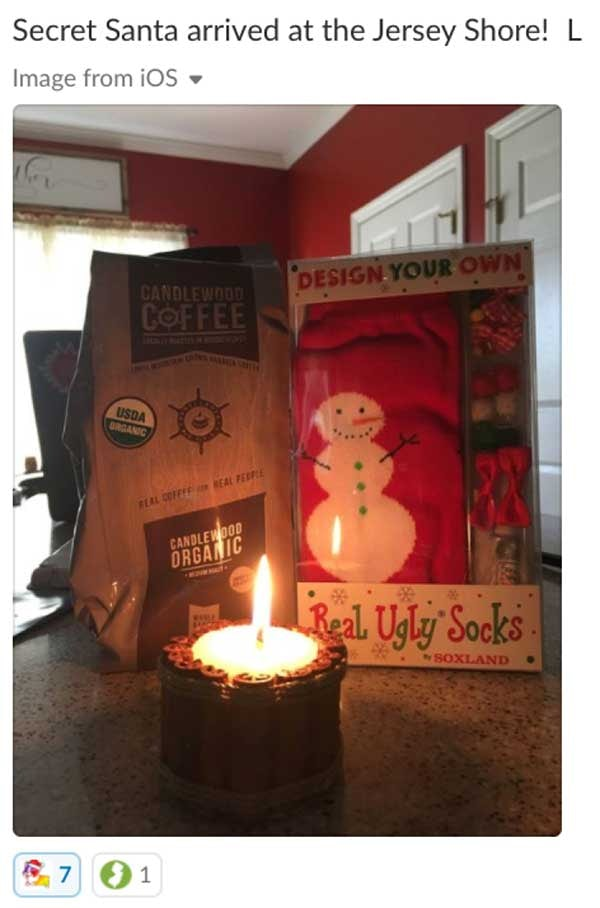 Secret Santa arrived at the Jersey Shore! Gift of candles, coffee and a card.