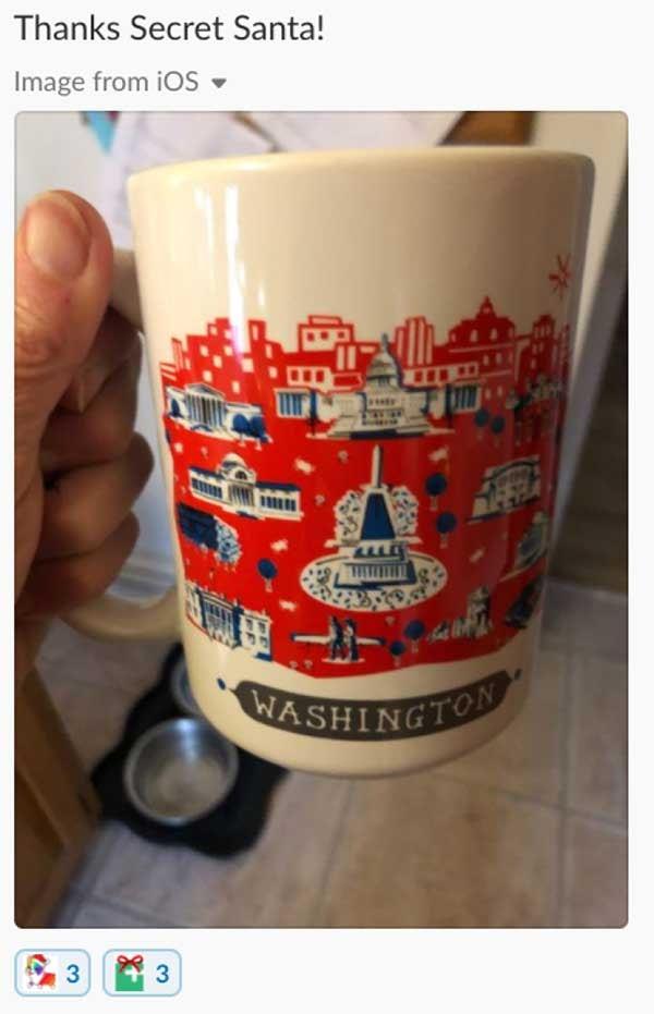 Thanks Secret Santa! Gift of a Washington DC mug.