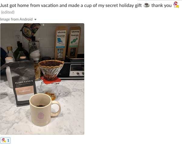 Just got home from vacation and made a cup of my secret holiday gift. Thank you secret-corgi.