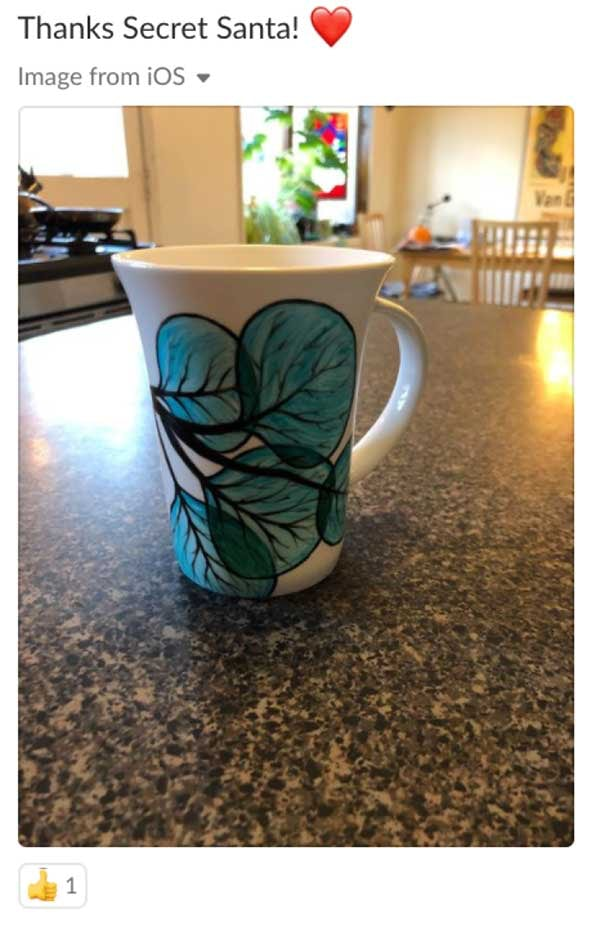 Thanks Secret Santa. Heart emoji. Gift of a mug.