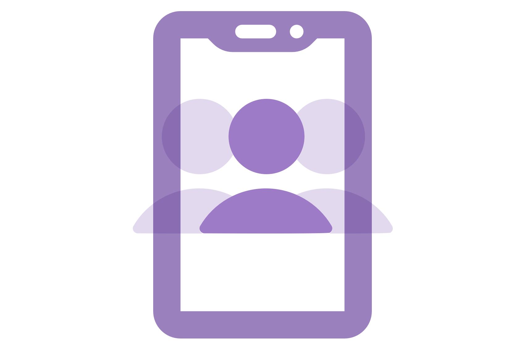 An abstract avatar inside an ID card.