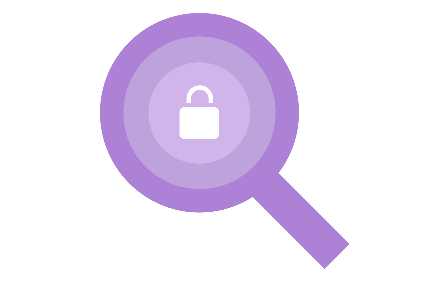 An abstract magnifying glass and lock inside a browser window.