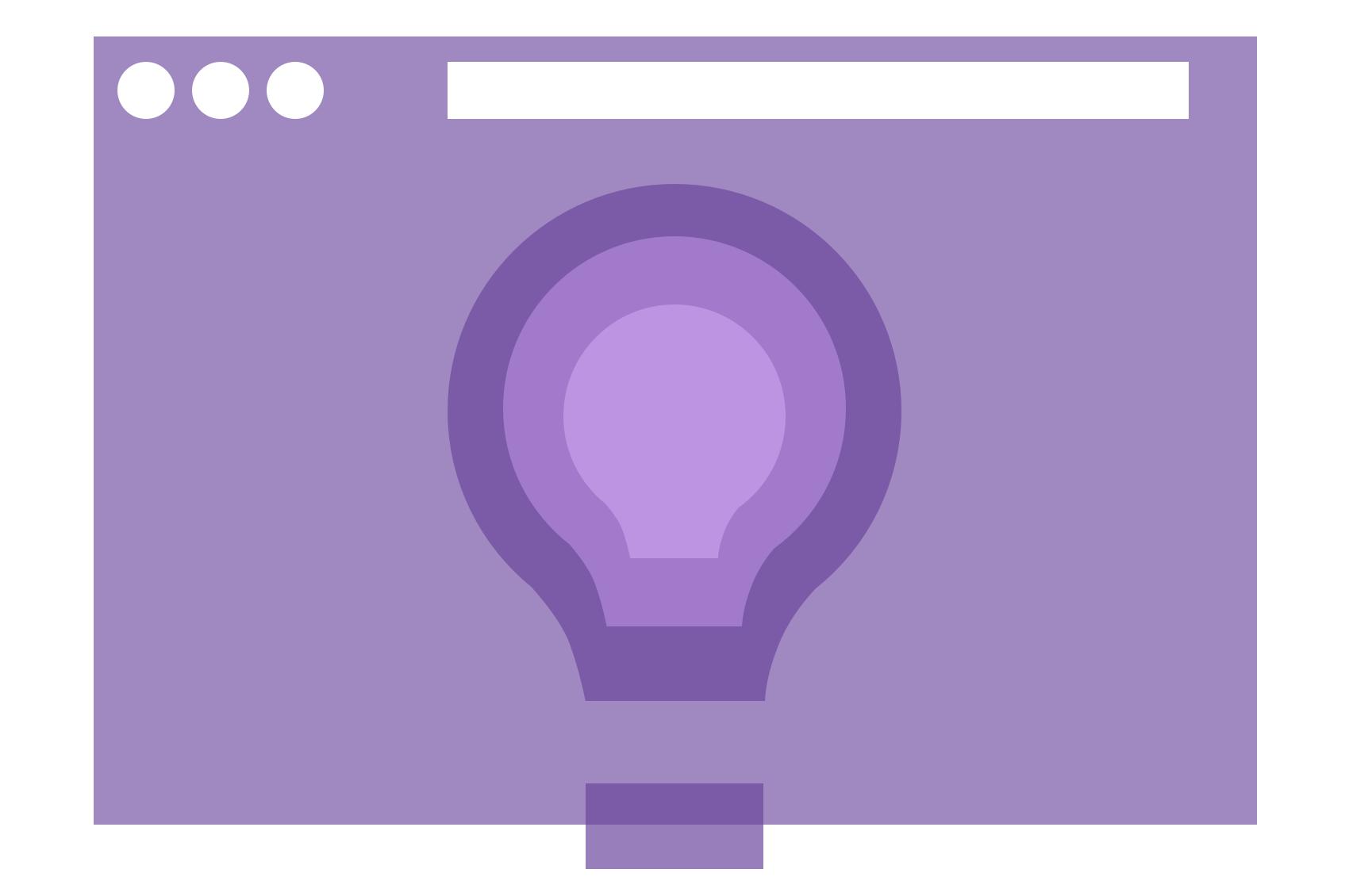 An abstract light bulb framed inside a browser window.